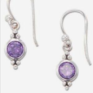 New  Silpada Sterling Amethyst drop earrings